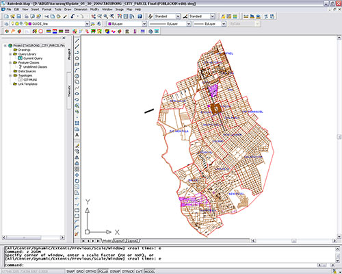 The whole digital parcel map of Tacurong City. All parcel boundaries were generated utilizing the city's scanned map and the customized tools of Amellar GIS.