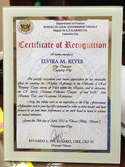 tagytay award 05162012 3 Tagaytay City Receives BLGF Commendation For Excellence in Revenue Generation